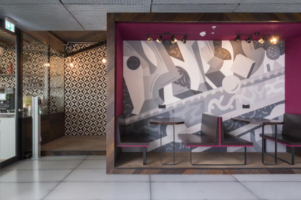 Bar Booth mit Graffiti Wand - WeWork und APOprojekt am Potsdamer Platz und Sony Center
